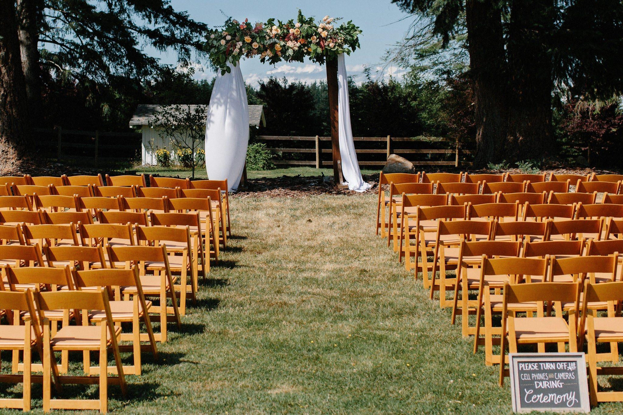 Wooden Arch And Pecan Chairs