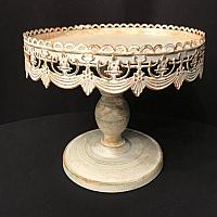 Cake Stand - White - Antique - 10""