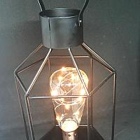 Lantern - Black - Geometric w/ Edison Bulb