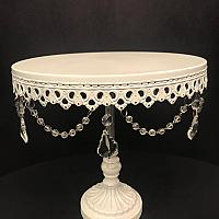 Cake Stand - White w/ Hanging Crystals