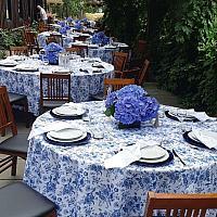 "Round Linen - Blue Floral - 120"""