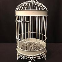"""Birdcage - White Wire - 10"""" x 21""""h"""