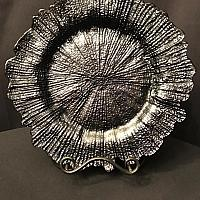 Charger Plate - Black - Glass - Reef