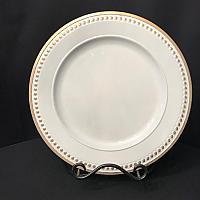 Charger Plate - White - Gold Bead