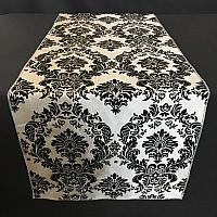 Table Runner - Damask - Black & Silver