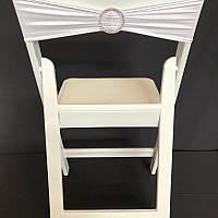 Spandex Chair Band w/ Buckle - White