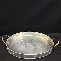 "Tray - Oval - Tin w/ Gold Rivets 12.5"" x 17"" (2' deep)"