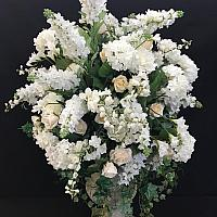 3' White Floral Urn