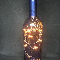 Wine Bottle w/ Fairy Lights - Blue