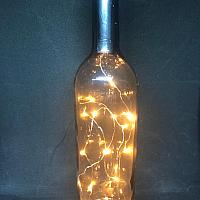Wine Bottle w/ Fairy Lights - Smoke