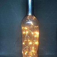 Wine Bottle w/ Fairy Lights - Smoke