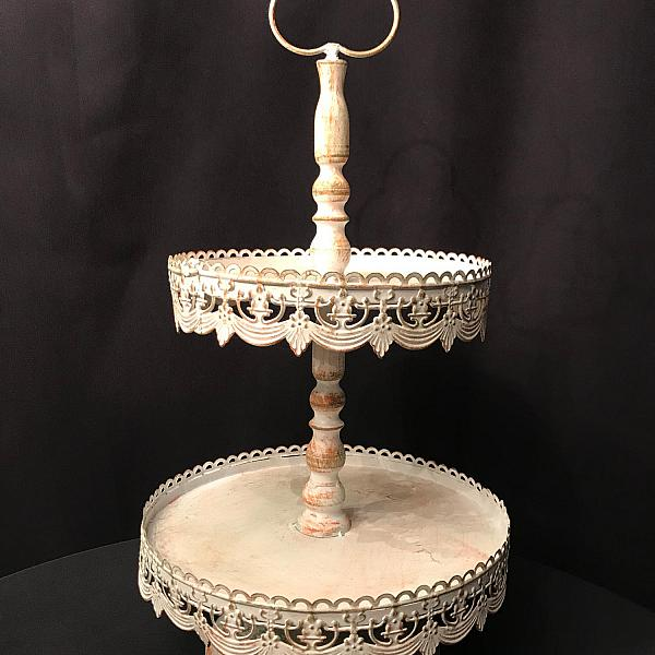 Dessert Stand - White - Antique - 10""