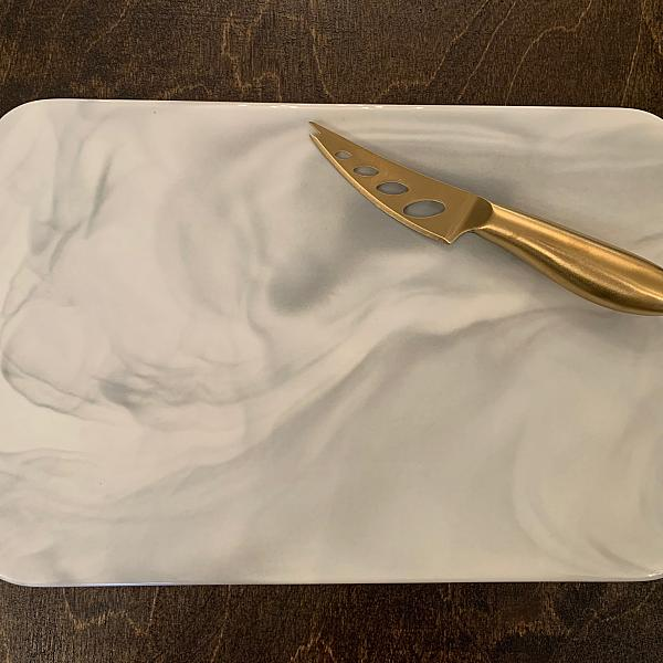 Marble Cheese Board w/ Gold Knife