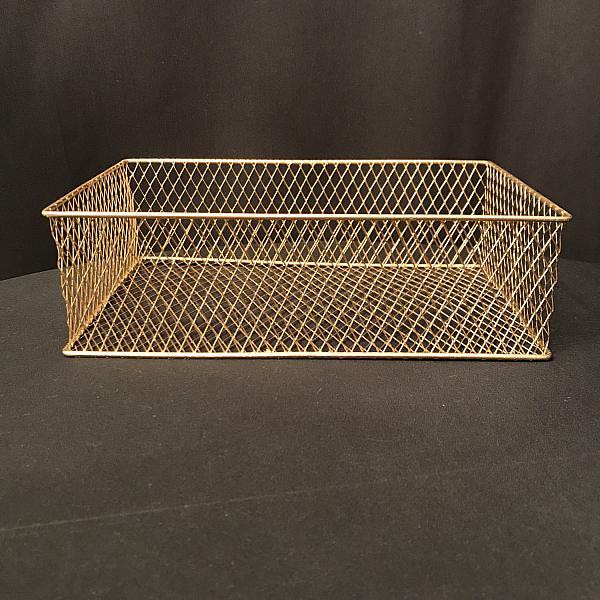 "Basket - Gold Wire - 12.5""l x 8""w x 4""d"