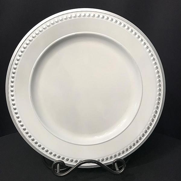 Charger Plate - White - Silver Bead