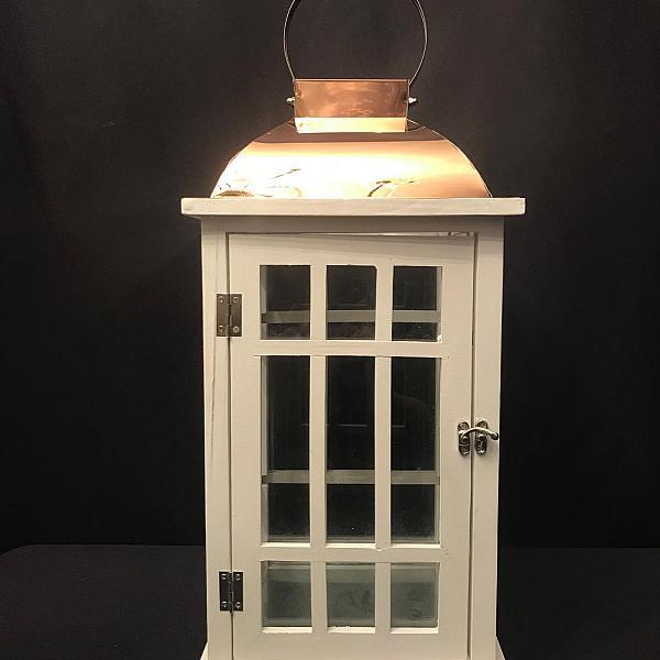 """Lantern - White Wood - Copper Top 18""""h"""