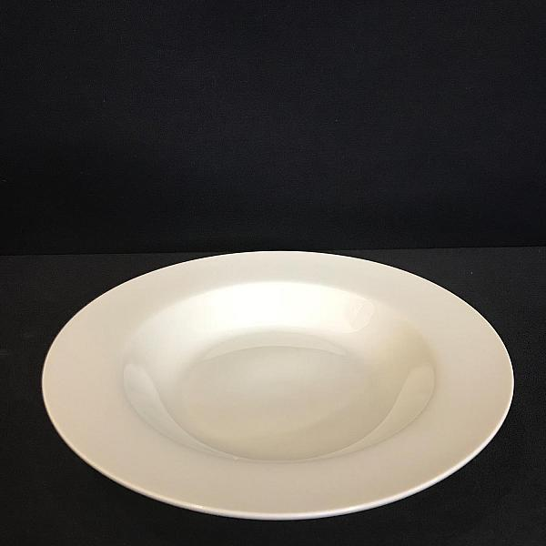 "Pearl White 8"" Rimmed Soup Plate"