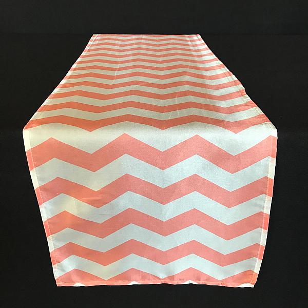 Table Runner - Coral - Chevron Stripe