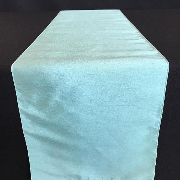 Table Runner - Raw Silk - Tiffany Blue