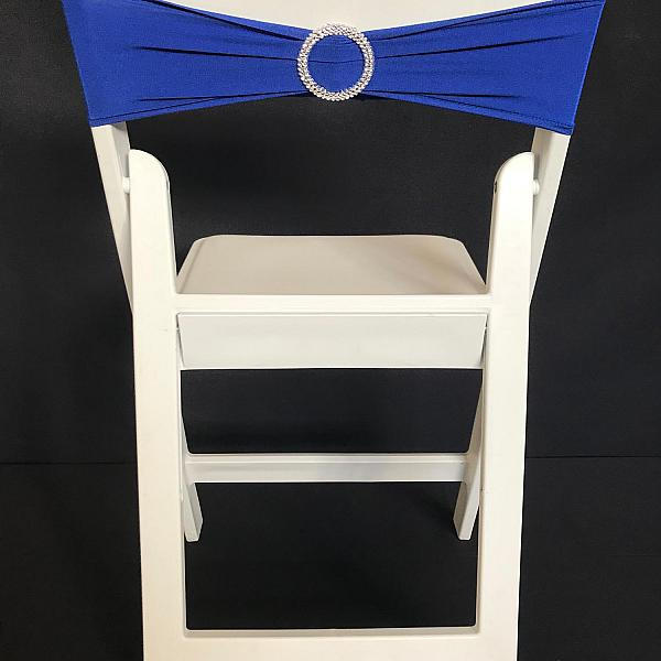 Spandex Chair Band w/ Buckle - Blue