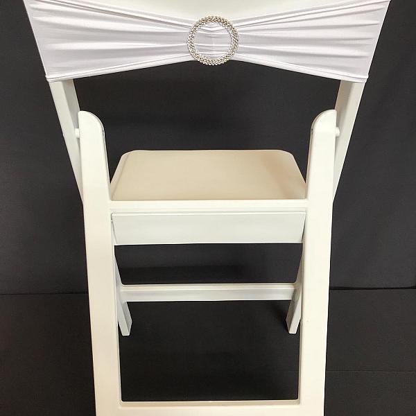 Spandex Chair Band w/ Buckle - White