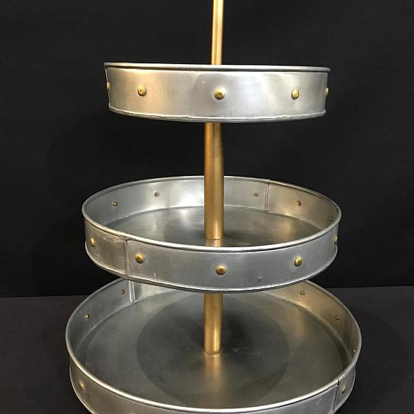 "Stand - 3 Tier - Tin w/ Gold Rivets 20""h"