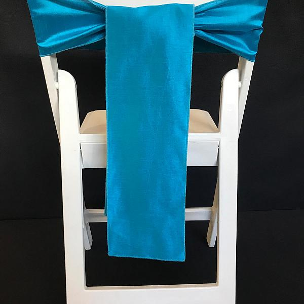 Chair Tie - Raw Silk - Bermuda Blue