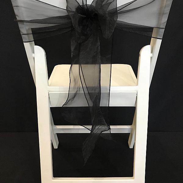 Chair Tie - Organza - Black