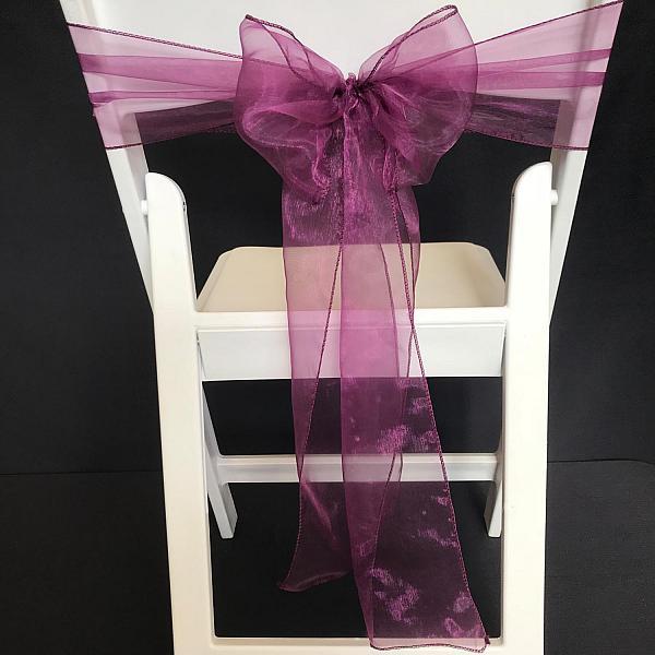 Chair Tie - Organza - Eggplant