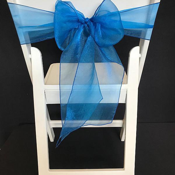 Chair Tie - Organza - Peacock Blue