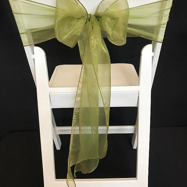 Chair Tie - Organza - Moss Green