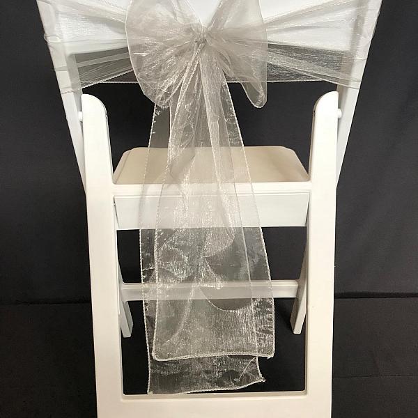 Chair Tie - Organza - Silver