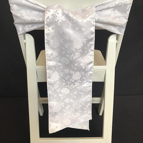 Chair Tie - White Brocade