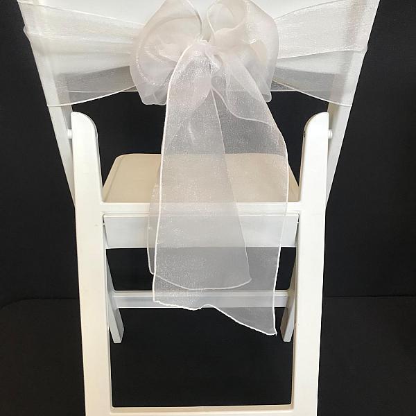 Chair Tie - Organza - White