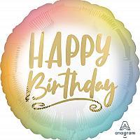 """Mylar - 18"""" - Happy Birthday Pastel Gold"""