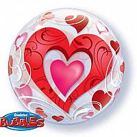 "22"" Bubble - Red Hearts"