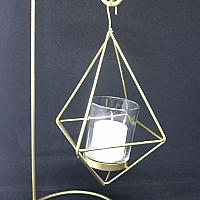 "Hanging Tealight Holder - Gold Geometric 15"" h"