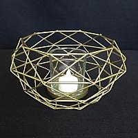 "Candle Holder - Geometric - Gold 8""w x 4""h"
