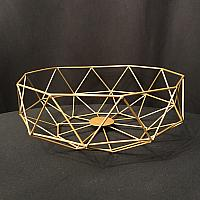 "Geometric Centrepiece/Metal Bowl - Gold - 4""h x 11.7"" w"