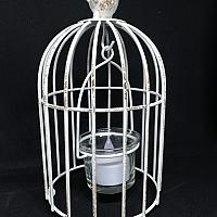"Candle Holder - Birdcage - White 8""h"