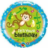 """Mylar - 18"""" - It's Your Birthday - Monkey"""