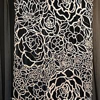 Backdrop Panel - Floral Felt Cutout - White 3' x 10'
