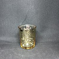 Votive Candle Holder - Round - Gold Metallic