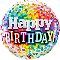 "Mylar - 18"" - Happy Birthday - Confetti"