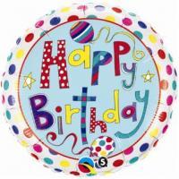 """Mylar - 18"""" - Happy Birthday - Dots"""
