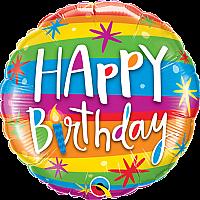"Mylar - 18"" - Happy Birthday Rainbow"