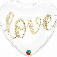 """Mylar - 18"""" - Love Glitter - Heart"""