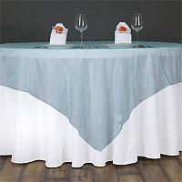 "Table Overlay - Organza - Turquoise 72"" x 72"""