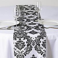 Table Runner - Black & White Damask
