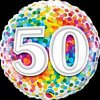 "Mylar - 18"" - 50 - Rainbow Confetti"